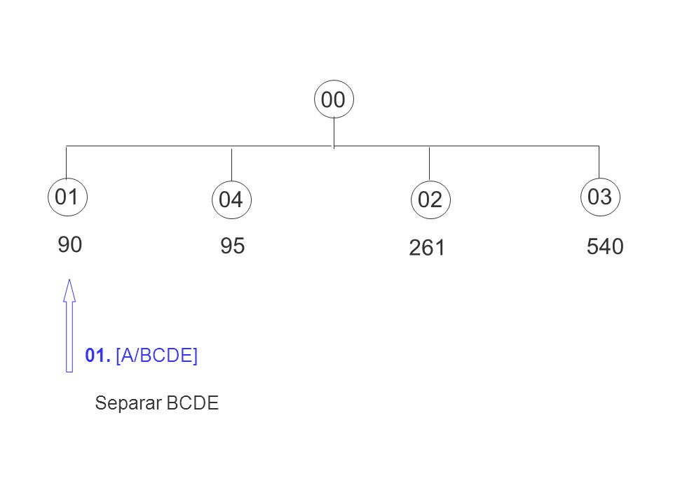 00 01 04 02 03 90 95 261 540 01. [A/BCDE] Separar BCDE